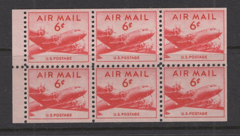 United States US 1949 Skymaster Plane Booklet Pane 6 Stamps Scott C39a MNH