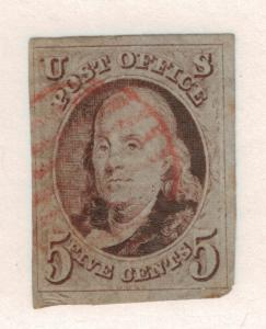 United States Stamp Scott #1, Used Hinged, 4 Margins (3 Large), Light Red Can...