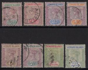 LEEWARD ISLANDS SG1/8 1890 DEFINITIVE SET USED
