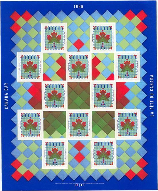 Canada USC #1607a Mint VF-NH 1996 Canada Day Pane of 12 Stamps & 5 Labels