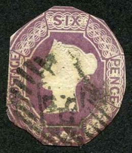 6d Purple Embossed Wmk Inverted and Reversed Fine Used