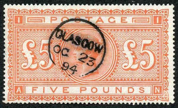 SG137 Five Pound Orange with Superb Colour and a small Glasgow CDS