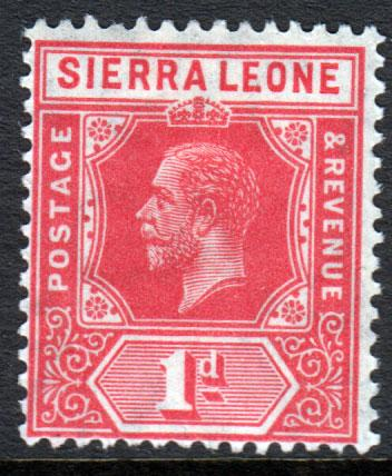 Sierra Leone KGV 1912 1d Rose-Red SG113b Mint Lightly Hinged