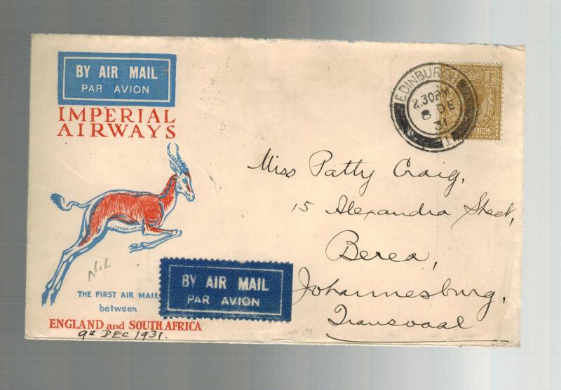 1931 England First Flight Cover FFC Transvaal South Africa via Imperial Airways