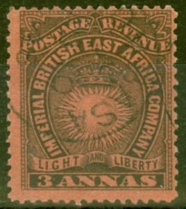 B.E.A KUT 1891 3a Black-Dull Red SG8 V.F.U Mombasa CDS
