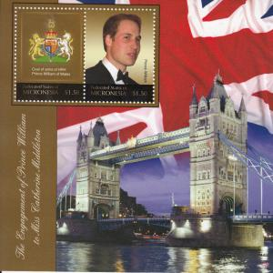 Micronesia Royalty Stamps 2010 MNH Royal Engagement Prince William 2v S/S II