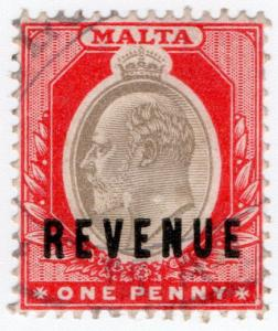 (I.B) Malta Revenue : Duty Stamp 1d