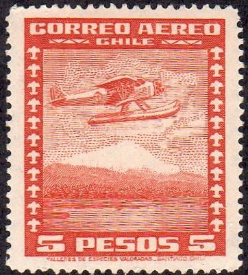 Chile C43 - Mint-H - 5p Seaplane (1934) (cv $0.30)