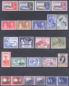Bechuanaland 1935-1953 Commemoratives Scott 117-/-153 SG 111-/-142 MLH Cat $64