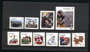 Canada #2499-2503, 2506, 2507, 2574, 2582, 2583  u  2012  PD