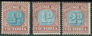 VICTORIA 1890 POSTAGE DUE 1/2D 1D AND 2D