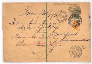 BH135 1908 RUSSIA Stationery Wrapper SWITZERLAND *St Beatenberg Station* RAILWAY