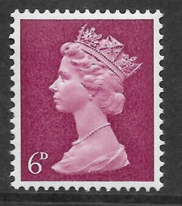 Sg 736by 6d Claret Pre-decimal Machin missing phosphor - UNMOUNTED MINT/MNH