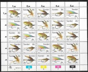 SOUTH AFRICA-TRANSKEI  # 73a-e  20c  Fishing Flies sheet of 25 (MNH) CV $12.50