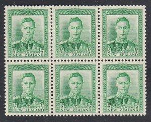 NEW ZEALAND 1938 GVI ½d green MNH block of 6 - SG cat £48...................K560
