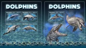 Z08 IMPERF MLD171005ab Maldives 2017 Dolphins MNH ** Postfrisch