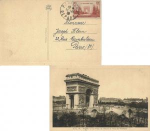 France 65c+35c Armistice Semi-Postal 1938 Paris R.P, Depart PPC (Arc de Triom...