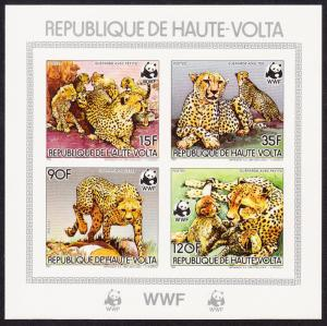 Upper Volta WWF Cheetah Souvenir Sheet imperforated