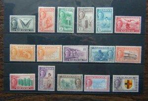 Sarawak 1950 set to $5 MM  (4c & 8c Unused 6c MNH) SG171 - SG185