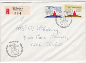 Geneva United Nations 1973 Registered stamps cover ref 21702