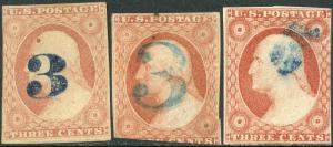 #11 USED WITH 3 DIFFERENT 3 NUMERAL BLUE CANCELS BP1963