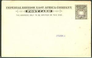 """BRITISH EAST AFRICA 1893 H&G #2 1 Anna """"SPECIMEN card"""