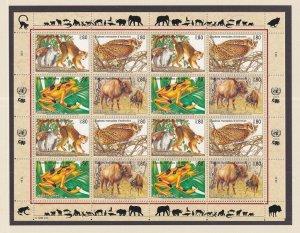 United Nations Geneva  #264-267a  MNH  1995 endangered species  sheet