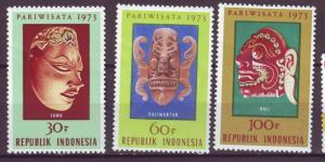 J21057 Jlstamps 1973 indonesia set mh #842-4 cermonial masks