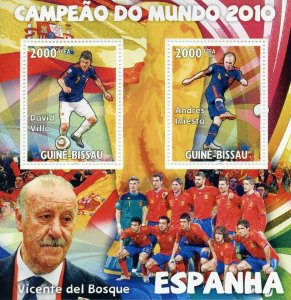 Guinea-Bissau Football Stamps 2010 MNH World Cup Spain Iniesta Soccer 2v M/S