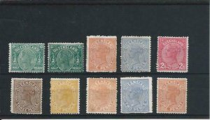 Queensland 1890 seven values to 4d plus thick paper values (3) all MM SG 184/206