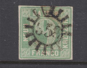 Bavaria Sc 6b used. 1850-58 9kr pale blue green Numeral, 358 Millwheel cancel