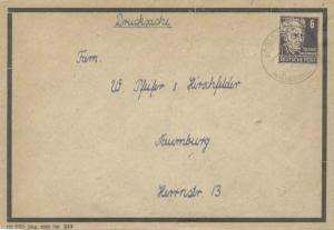 Germany Soviet Zone 6pf Gerhart Hauptmann 1949 Grossjena, Naumburg Printed ma...