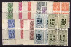 ST.LUCIA SG146/56 1949-50 NEW CURRENCY SET TO 48c MTD MINT BLOCKS OF 4