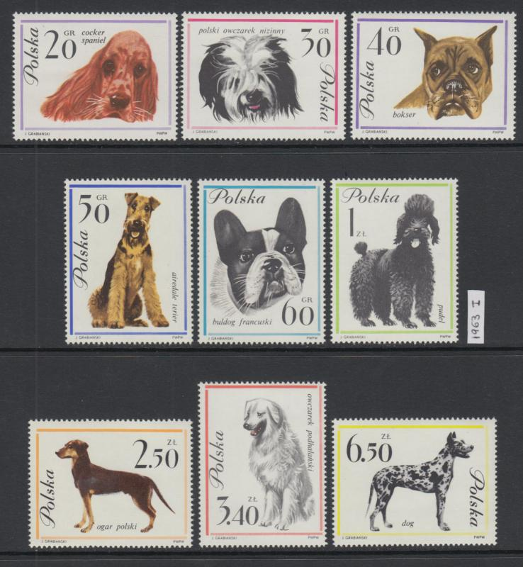 XG-X003 POLAND - Dogs, 1963 9 Values MNH Set