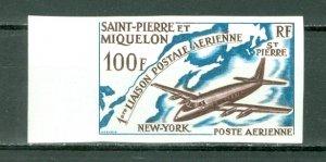 ST.PIERRE & MIQUELON 1964 IMPERFORATED AIR  #C28...MNH