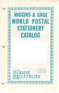 BELGIUM  -     HIGGINS and GAGE SPECIALISED POSTAL STATIONERY CATALOGUE