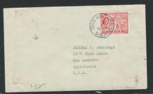 NORTH BORNEO (PP0204B) 1956 QEII 8C TRAIN MAIL TO USA