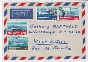 kenya uganda tanzania 1969 various ships air mail stamps cover ref 20670