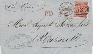 Malta, Scott #A46, Plate 12, Used on 1872 Cover, to Marseilles, France