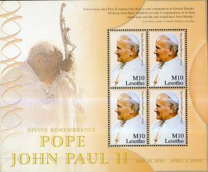 LESOTHO 1371 MNH FULL SHEET/4 SCV $37.50 BIN $18.50 POPE JOHN PAUL II