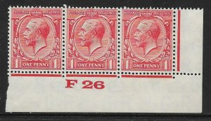 1d Scarlet Block Cypher Control F26 imperf UNMOUNTED MINT/MM margin only