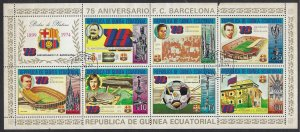 Equatorial Guinea 74126-32 CTO Barcelona sheet of 7 and label  BIN $5.00