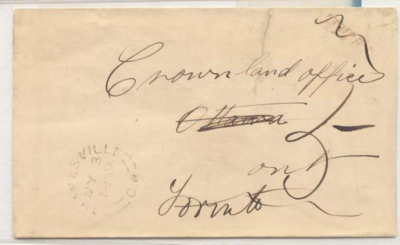 Canada Thamesville CW ws stampless cover Weak drank readable