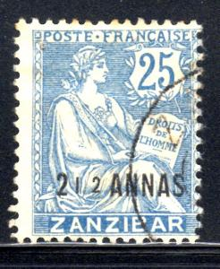 France Offices in Zanzibar #43, used, CV$15.00