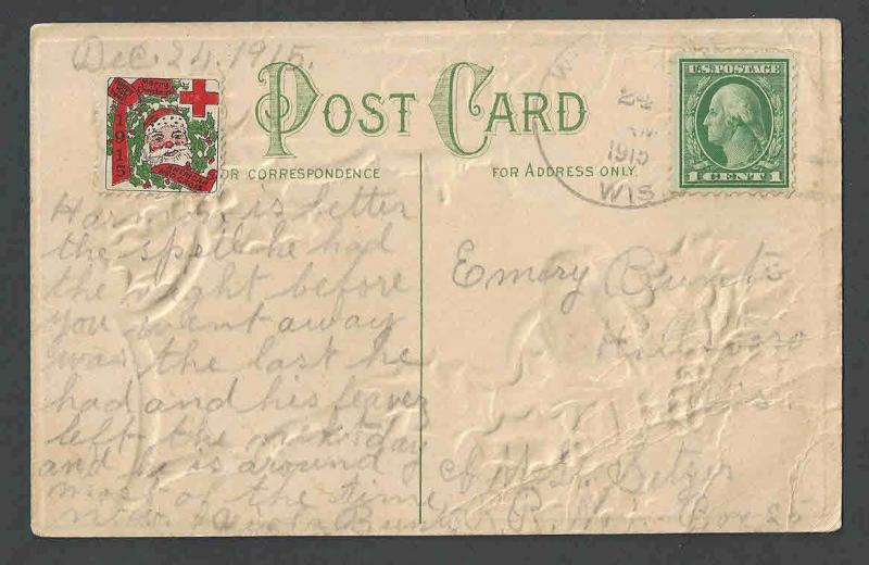 1915 PPC* Xmas Seal #WX16 On Heavily Embossed Xmas Card Has Bends