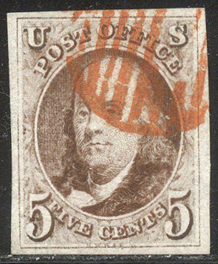 U.S. #1 CHOICE Used XF w/Cert - 1847 5c Red Brown