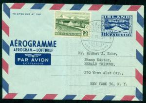 ICELAND Aerogram #5 175aur, 1958, used w/proper supplemental rate added, to U.S.