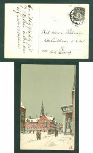 Denmark. Christmas Card 1911. 3  Ore. Copenhagen. 24.Dec. Copenhagen