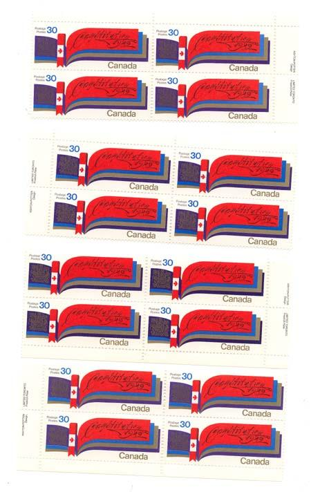 Canada USC #916 Mint MS of Imprint Blocks VF-NH 1982 30c Constitution