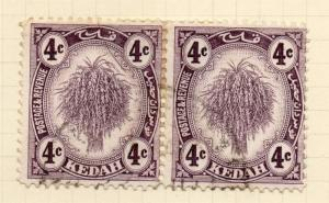 Kedah 1922-36 Early Issue Fine Used 4c. Pair